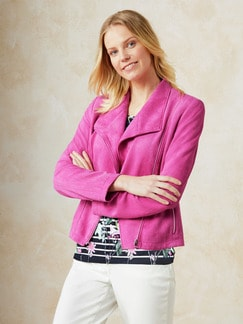 Betty Barclay Velours-Bikerjacke Pink Fuchsia Detail 1