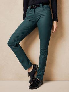Five Pocket Hose Lederoptik Smaragdgrün Detail 1