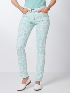 Powerstretch-Jeans Palmenprint Mint Detail 1