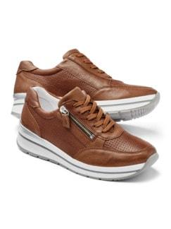 City Perfo-Sneaker Cognac Detail 1