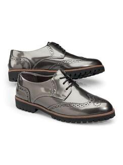 Leder-Derby Lackglanz Silber/Grau Detail 1