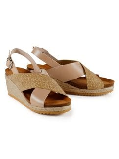 Keil-Bast-Sandale Taupe/Gelb Detail 1
