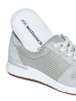 Materialmix-Sneaker Grau/Beige Detail 3