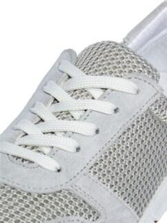 Materialmix-Sneaker Grau/Beige Detail 4