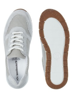 Materialmix-Sneaker Grau/Beige Detail 2