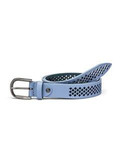 Ledergürtel mit Perforation Hellblau Detail 1