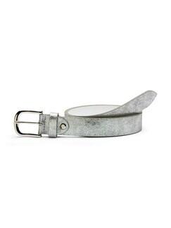 Ledergürtel Metallic Silber Detail 1
