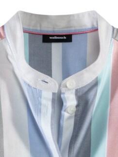 Pima-Cotton-Hemdbluse Streifen Blau Detail 3