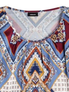Viskose-Shirtbluse Druck Zimt/Blau Detail 4