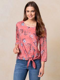 Shirtbluse mit Knoten Flamingo Detail 1