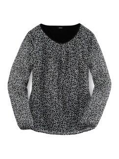 Shirtbluse 2 in 1 Schwarz-Weiß Detail 3