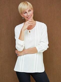 Bluse mit Schleifchen Weiß . Detail 2