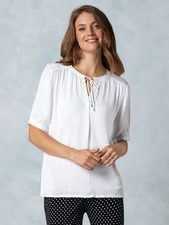 Shirtbluse Materialmix Weiß Shirtbluse Detail 1