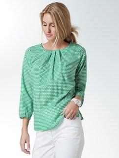 Shirtbluse Sommerleicht Tupfen Grün Detail 1