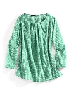 Shirtbluse Sommerleicht Tupfen Grün Detail 2