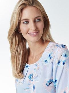 Shirtbluse Pastellblüten Blau geblümt Detail 4