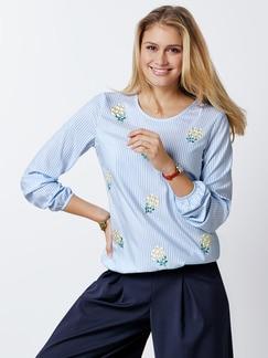Shirtbluse Blütenstickerei Blau/Weiß Detail 1