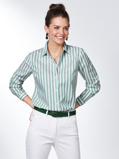 Extraglatt Pima-Cotton Hemdbluse Grün gestreift Detail 1