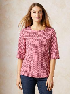 Shirtbluse Vichy Rot Detail 1
