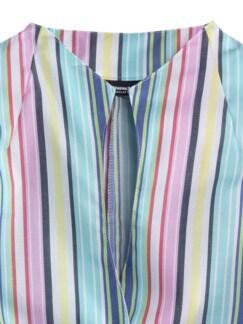 Extraglatt-Bluse Kelchkragen Streifen Multicolor Detail 4