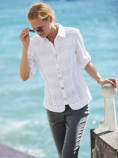 060c0d07dd8b8e Stickerei Bluse Summer White | Weiß | Walbusch