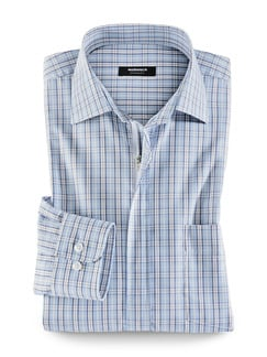 Extraglatt-Hemd Reißverschluss Blau/Burgund Detail 1