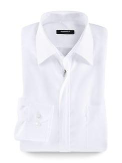 Extraglatt-Hemd Reißverschluss Weiß Detail 1