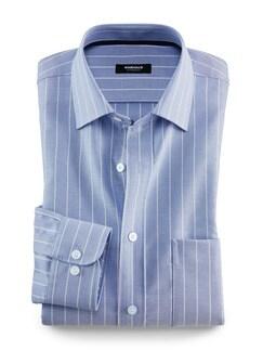 Extraglatt-Hemd Oxford Streifen Blau Detail 1