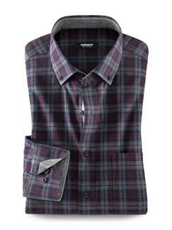 Softcotton-Hemd Tweed-Optik Rot/Grau/Navy Detail 1