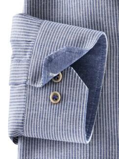 Baumwoll-Seiden-Hemd Streifen Blau Detail 4