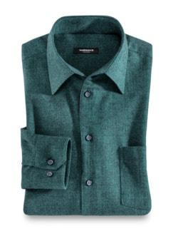 Thermoflanell-Hemd Softmelange Uni Smaragd Detail 1