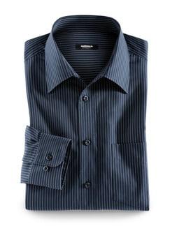 Extraglatt-Hemd Walbusch-Kragen Streifen Dunkelblau Detail 1