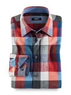 Extraglatt-Leichtflanell-Hemd Blau/Grau/Orange Detail 1