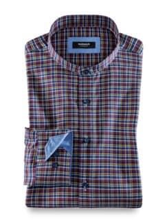 Extraglatt Stehkragen-Hemd Oxfordkaro Rot/Blau Detail 1