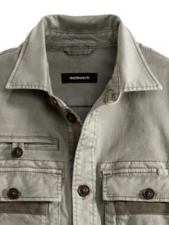 Hemdjacke Garment Dyed Khaki Detail 3