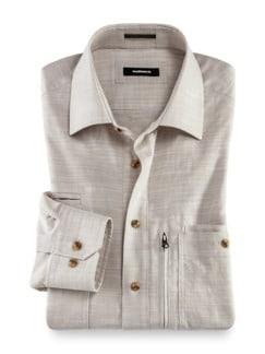 10-Taschen-Safarihemd Uni Beige Detail 1
