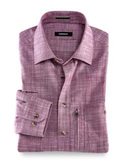 10-Taschen-Safarihemd Uni Beere Detail 1