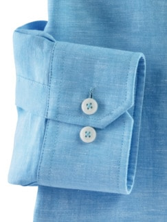 Stehkragen-Leinenhemd Aqua Detail 4