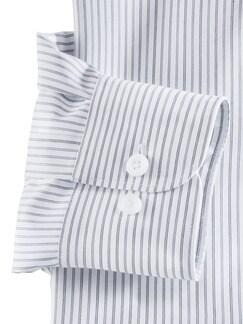 Extraglatt-Hemd Walbusch-Kragen Streifen Grau Detail 4