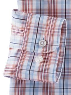 Extraglatt-Hemd Reißverschluss Weiß/Terra/Blau Detail 4