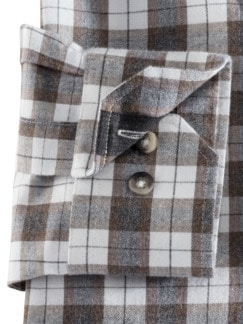 Luxus-Flanell-Hemd Ecrue/Grau Detail 4