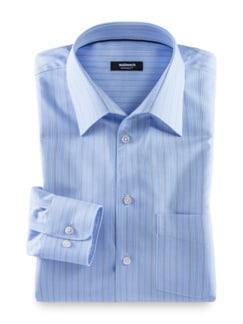 Extraglatt-Hemd Naturstretch Streifen Blau Detail 1