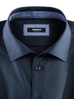Extraglatt-Hemd Walbusch-Kragen Uni Navy Detail 3