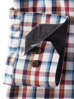 Flanell-Hemd Cashmere-Blend Ecrue/Blau Detail 4