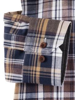 Flanell-Hemd Cashmere-Blend Beige/Braun Detail 4