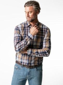 Flanell-Hemd Cashmere-Blend Beige/Braun Detail 2