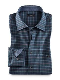 Winter-Oxfordhemd Karo Blau/Braun Detail 1