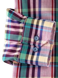 Reißverschluss-Hemd Easycare Karo Rot Detail 4