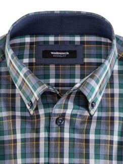 Extraglatt-Hemd Button Down Karo Petr. Blau Detail 3