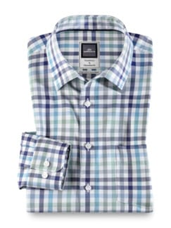 Extraglatt-Hemd Premium Vichy Blau Mint Detail 1
